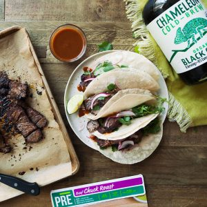 Coffee Rubbed Steak Tacos with Pickled Red Onions