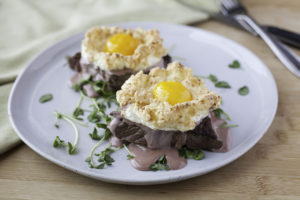 Ribeye Benedict with Cloud Eggs and Red Wine Hollandaise